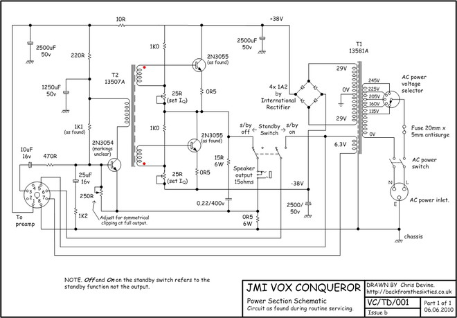 Schematic for the Vox Conqueror and Dynamic Bass power section