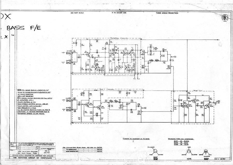 Schematic for the Vox Dynamic, Foundation and Super Foundation Bass preamp