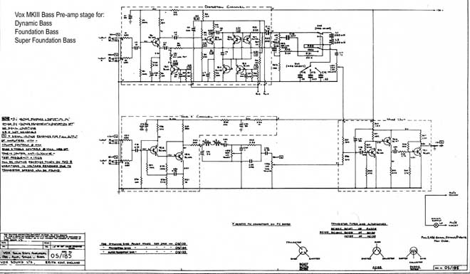 Vox Sound Equipment Limited and Vox Sound Limited schematic for the bass preamps