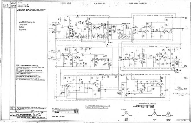 Vox Sound Equipment Limited and Vox Sound Limited schematic for the guitar preamps, descriptive panel