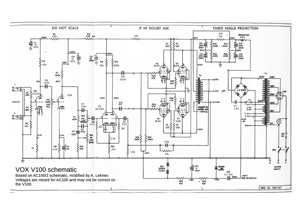 Vox Sound Equipment Limited V100 schematic