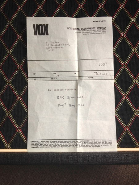 Vox Supreme serial number 2231, documentation, VSEL Nov. 1969