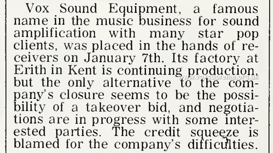 Cash Box, 31st January, 1970 - the beginning of the end of Vox Sound Equipment Limited