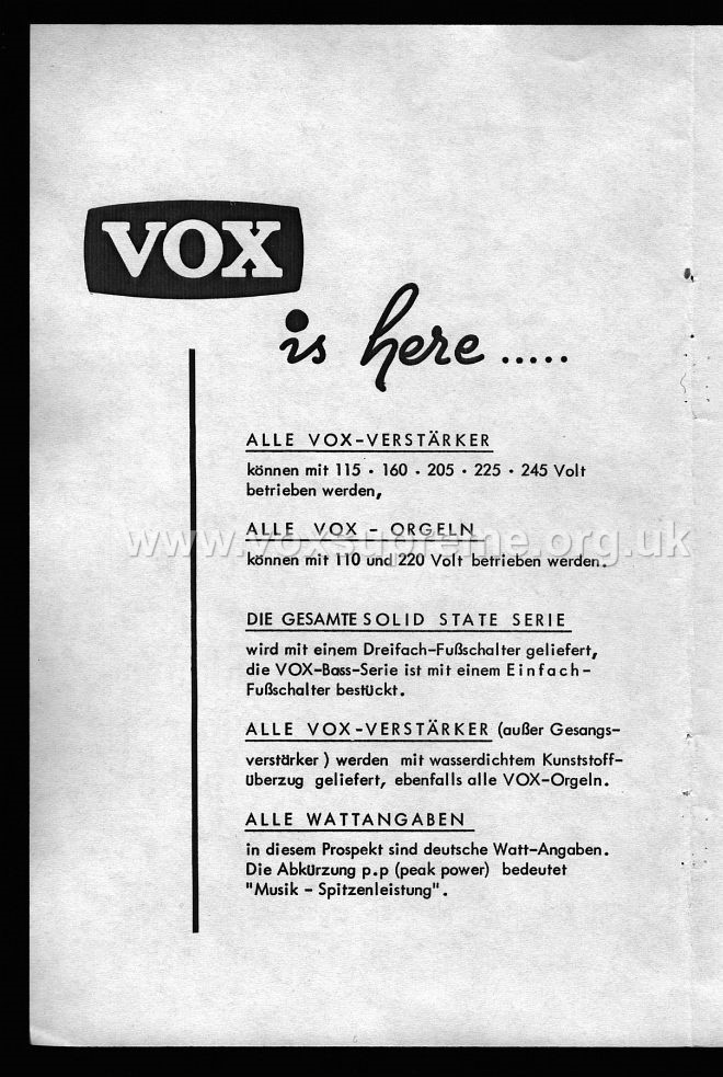 VSEL German catalogue, 1969, inner front page