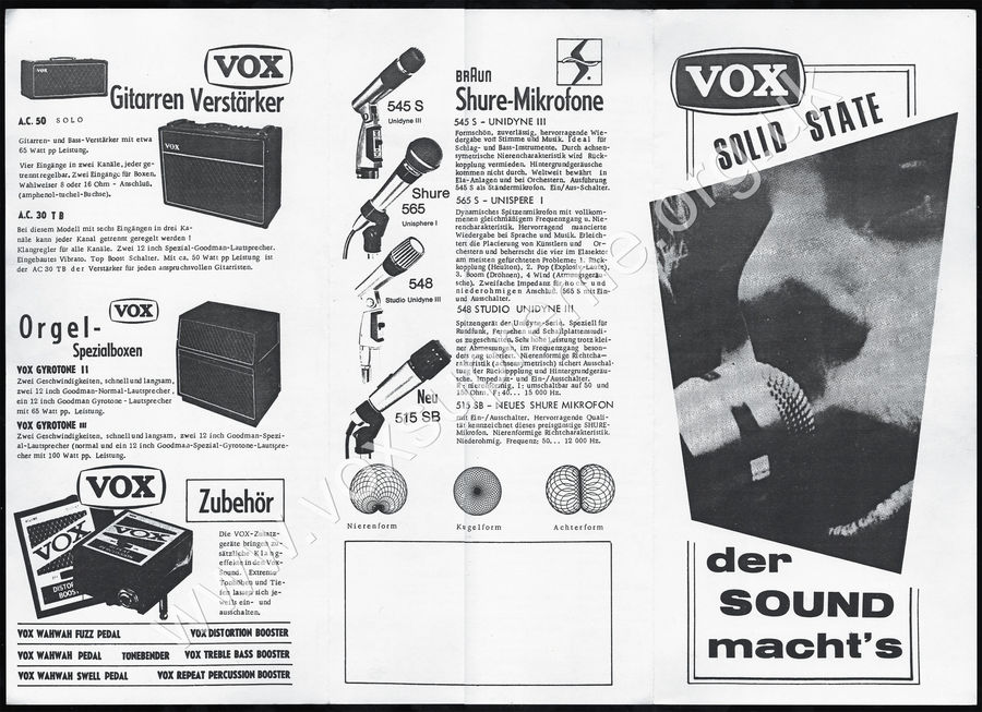 Vox Sound Equipment Limited brochure for Germany, 1969