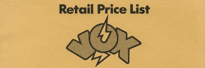 Detail from the front page of the Vox Sound Limited price list, 1970