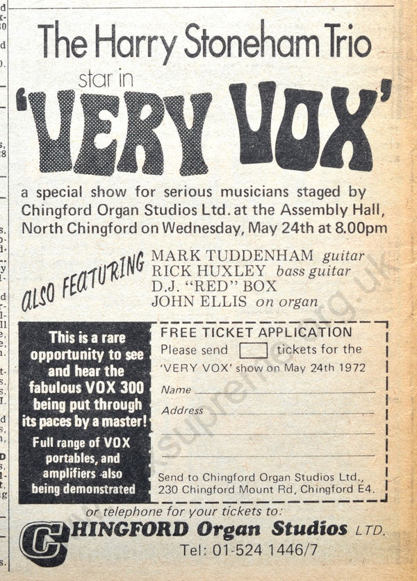 Melody Maker, 9th February, 1972, Chingford Organ Studios