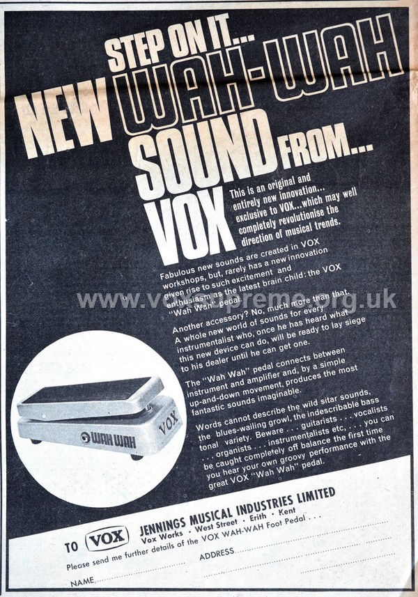 Vox Wah Wah pedal, Melody Maker, April 1967