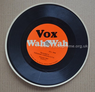 Vox promotional disc for the new wah pedal, version 1, front
