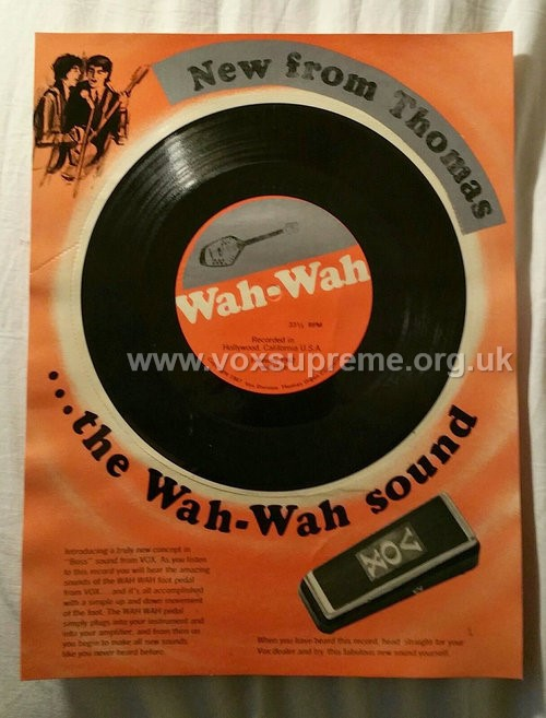 Vox promotional disc for the new wah pedal, version 2, still on its card, front